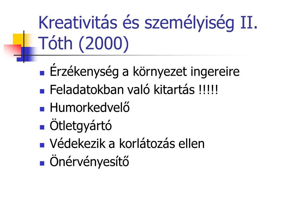 Kreativitás és személyiség II. Tóth (2000)