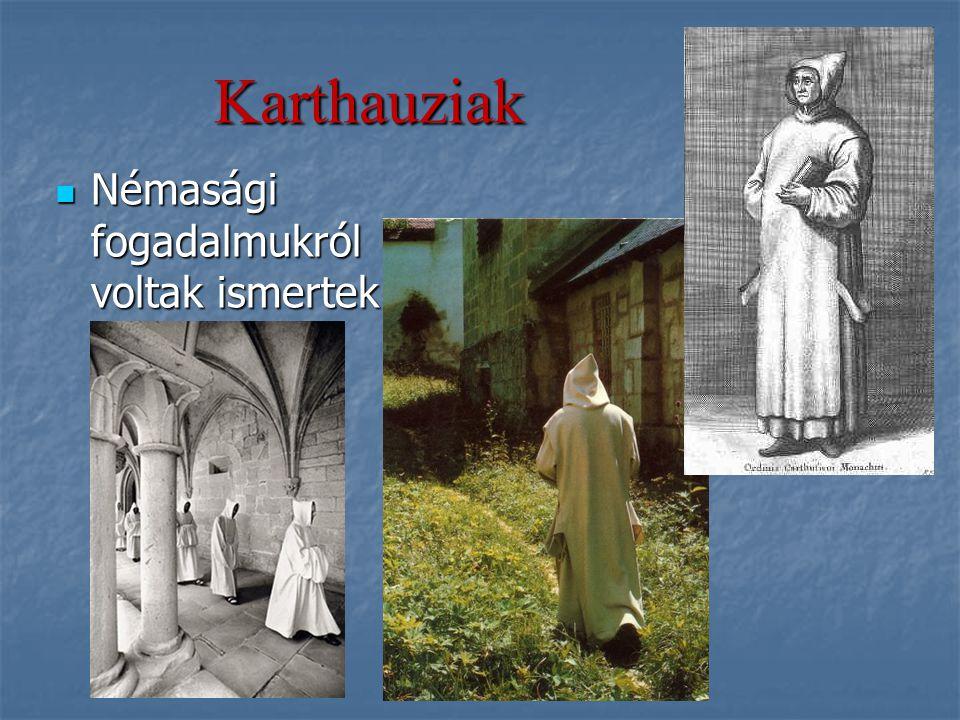 Karthauziak Némasági fogadalmukról voltak ismertek