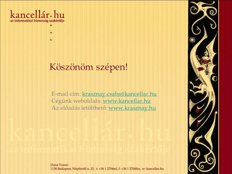 Köszönöm szépen! E-mail cím: krasznay.csaba@kancellar.hu