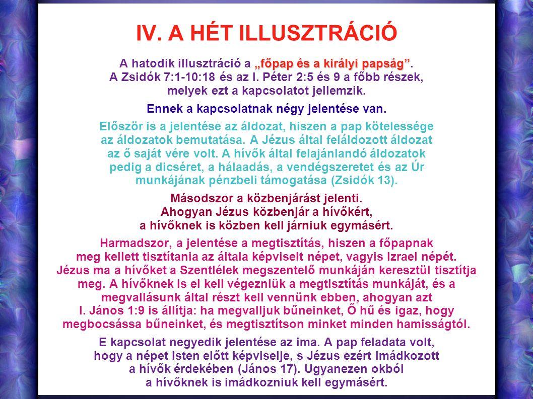 """IV. A HÉT ILLUSZTRÁCIÓ A hatodik illusztráció a """"főpap és a királyi papság . A Zsidók 7:1-10:18 és az I. Péter 2:5 és 9 a főbb részek,"""