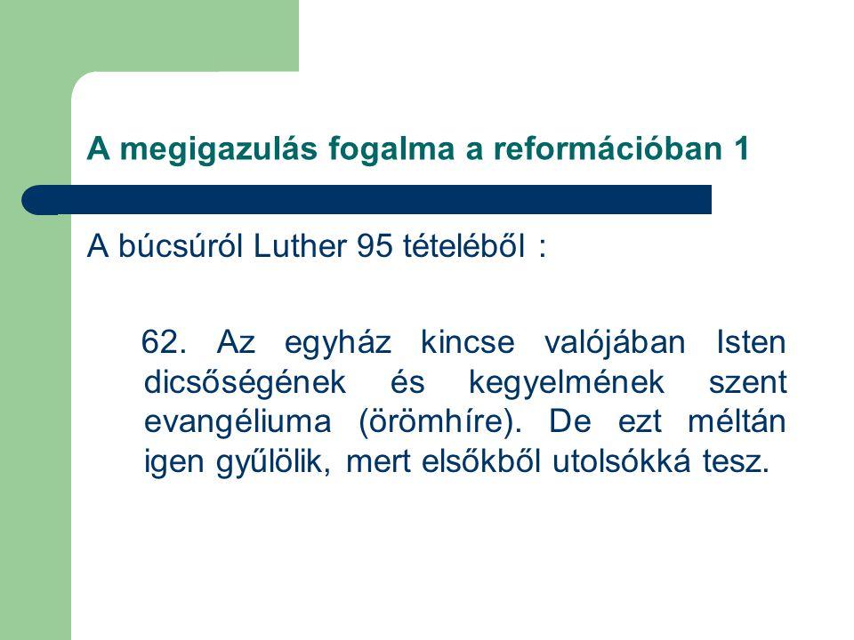 A megigazulás fogalma a reformációban 1