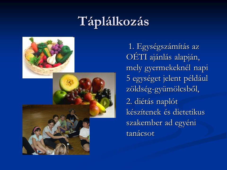 Táplálkozás 1. Egységszámítás az OÉTI ajánlás alapján, mely gyermekeknél napi 5 egységet jelent például zöldség-gyümölcsből,