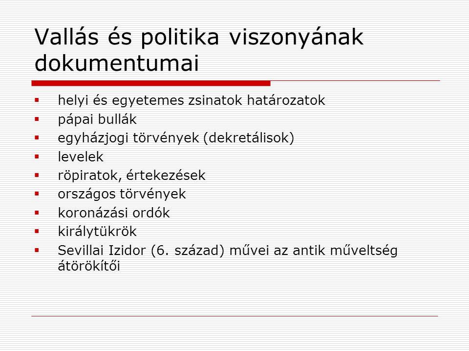 Vallás és politika viszonyának dokumentumai