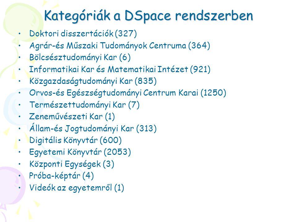 Kategóriák a DSpace rendszerben
