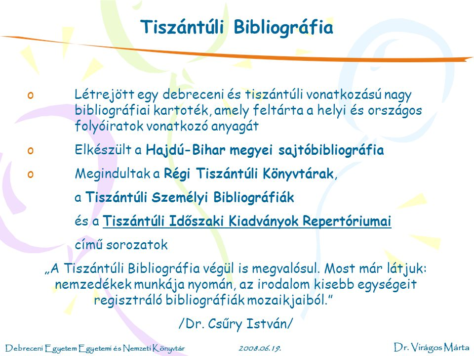 Tiszántúli Bibliográfia