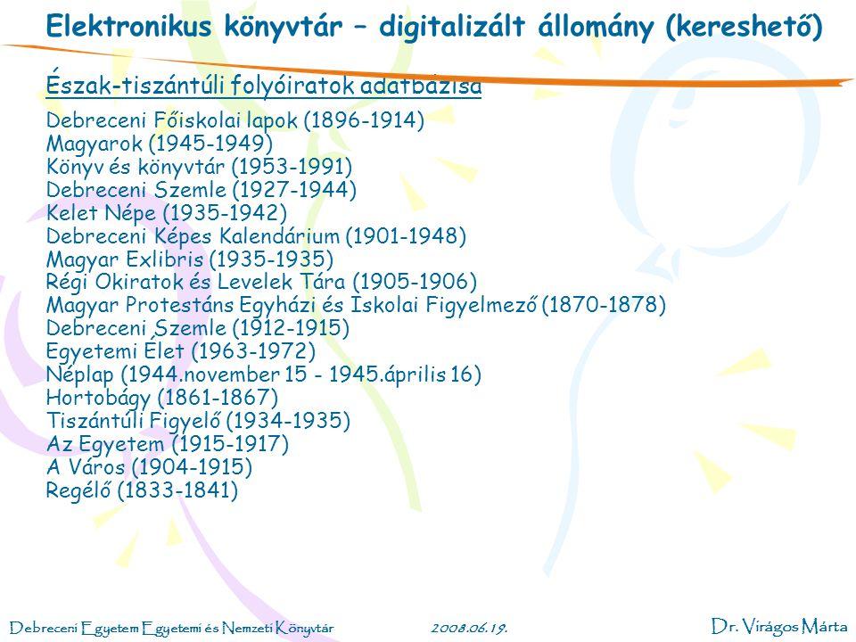 Elektronikus könyvtár – digitalizált állomány (kereshető)