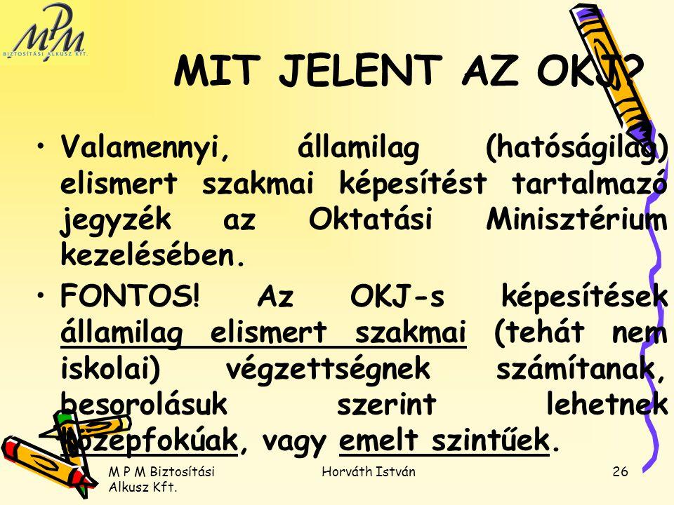 MIT JELENT AZ OKJ Valamennyi, államilag (hatóságilag) elismert szakmai képesítést tartalmazó jegyzék az Oktatási Minisztérium kezelésében.