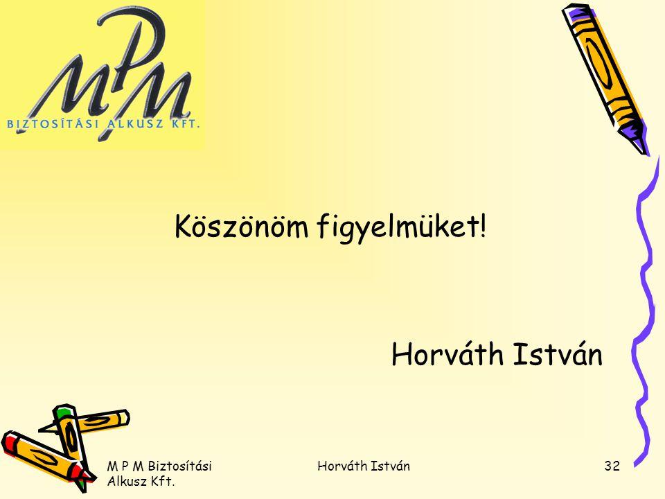 Köszönöm figyelmüket! Horváth István M P M Biztosítási Alkusz Kft.
