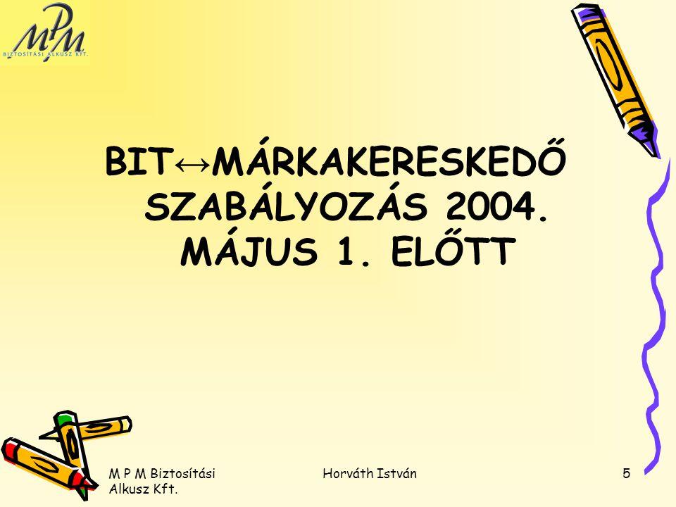 BIT↔MÁRKAKERESKEDŐ SZABÁLYOZÁS 2004. MÁJUS 1. ELŐTT