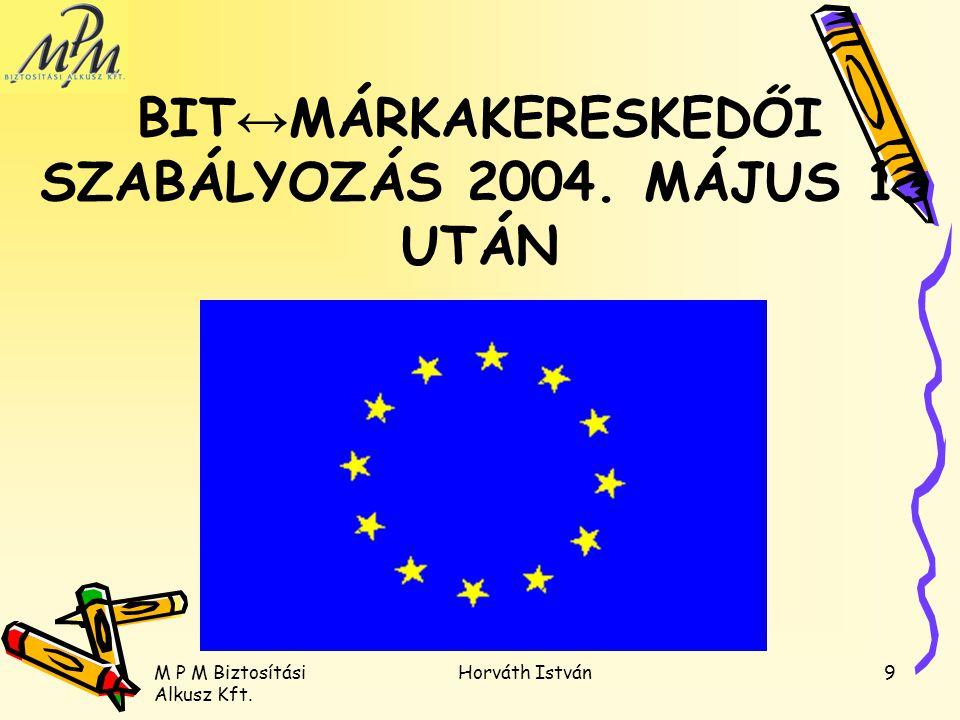 BIT↔MÁRKAKERESKEDŐI SZABÁLYOZÁS 2004. MÁJUS 1. UTÁN