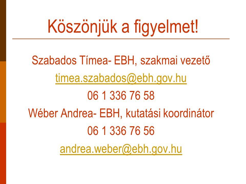 Köszönjük a figyelmet! Szabados Tímea- EBH, szakmai vezető