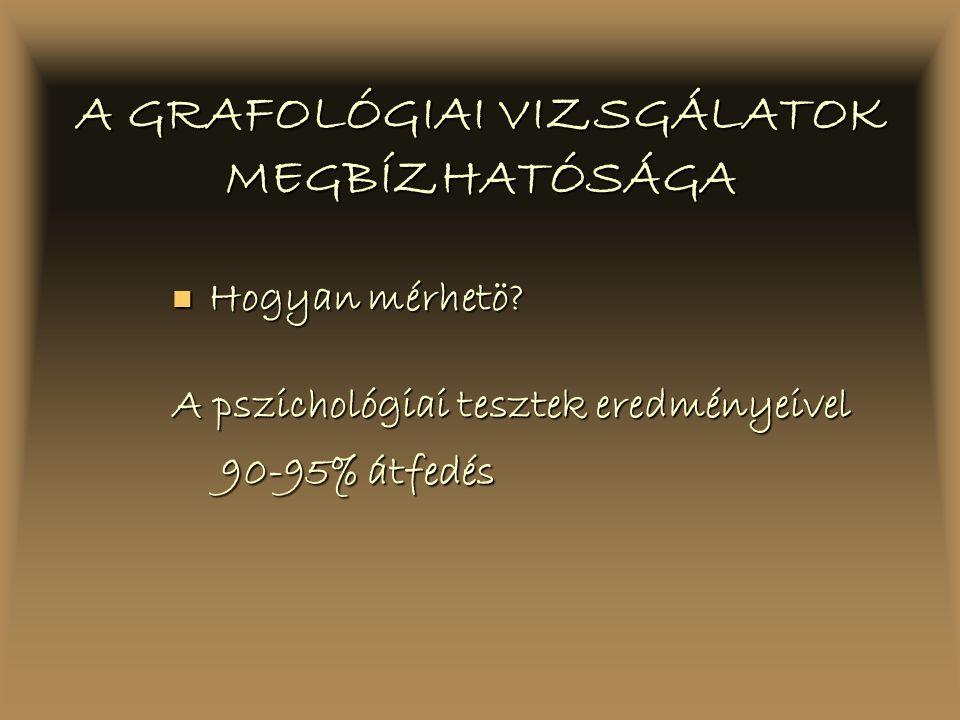 A GRAFOLÓGIAI VIZSGÁLATOK MEGBÍZHATÓSÁGA