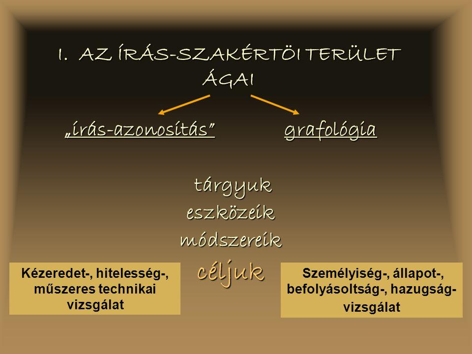 I. AZ ÍRÁS-SZAKÉRTÖI TERÜLET ÁGAI