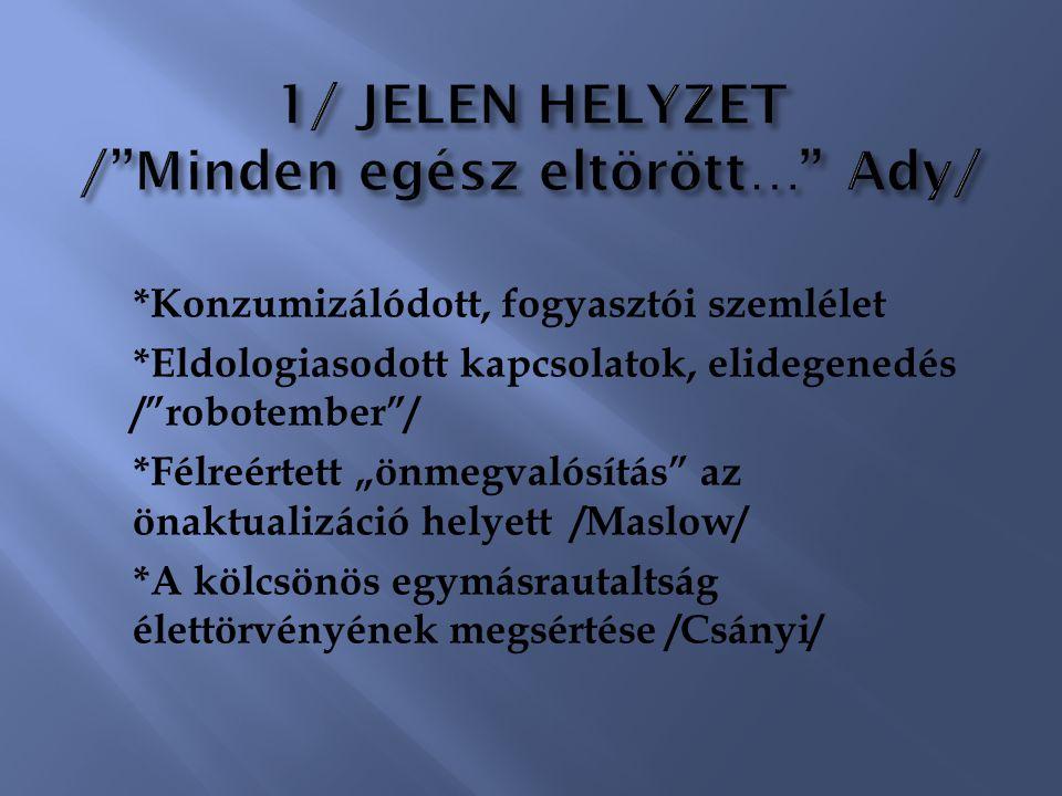 1/ JELEN HELYZET / Minden egész eltörött… Ady/