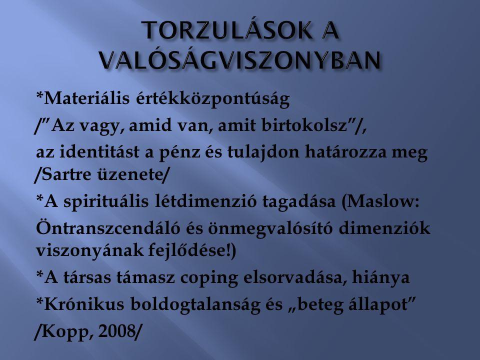 TORZULÁSOK A VALÓSÁGVISZONYBAN