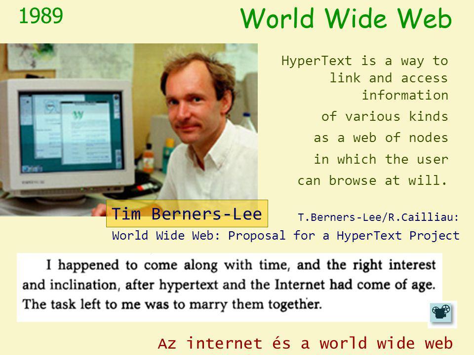 World Wide Web 1989 Tim Berners-Lee Az internet és a world wide web