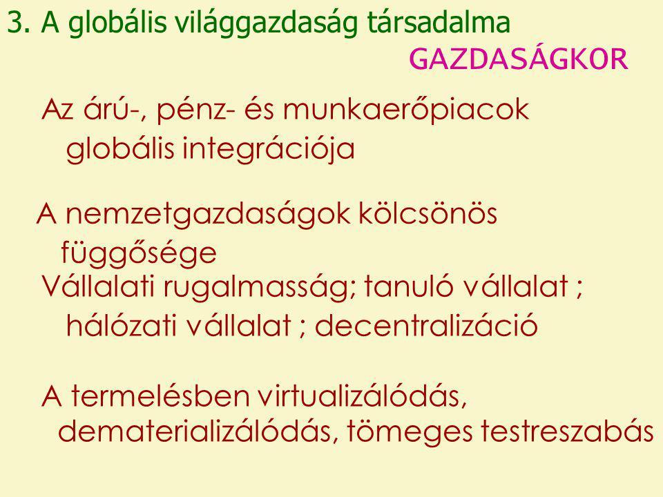 GAZDASÁGKOR 3. A globális világgazdaság társadalma
