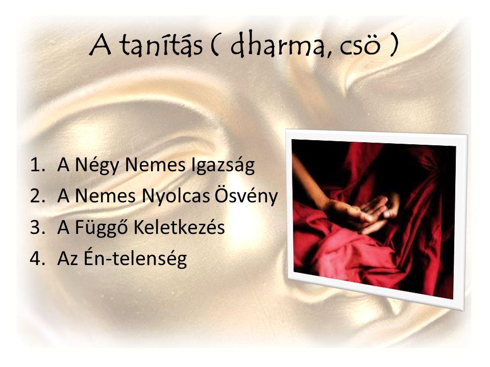 A tanítás ( dharma, csö ) A Négy Nemes Igazság A Nemes Nyolcas Ösvény