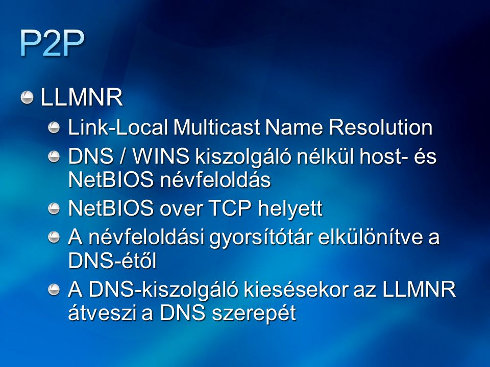 P2P LLMNR Link-Local Multicast Name Resolution