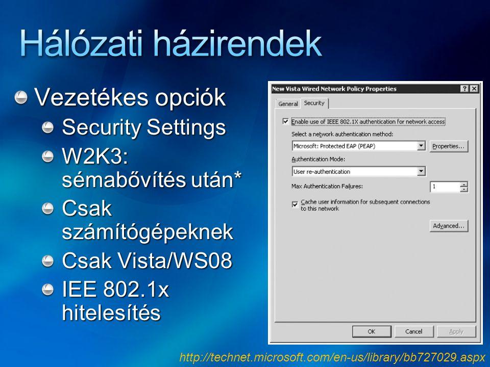 Hálózati házirendek Vezetékes opciók Security Settings