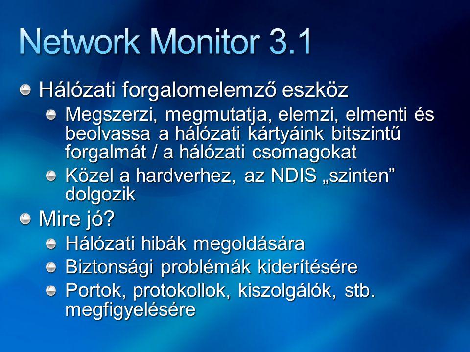 Network Monitor 3.1 Hálózati forgalomelemző eszköz Mire jó