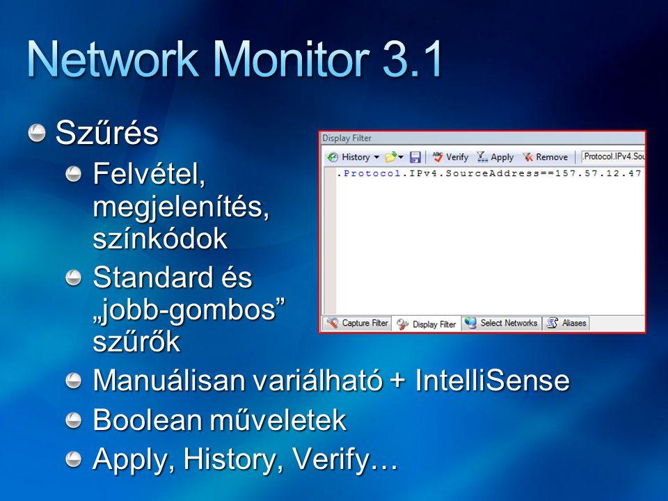 Network Monitor 3.1 Szűrés Felvétel, megjelenítés, színkódok