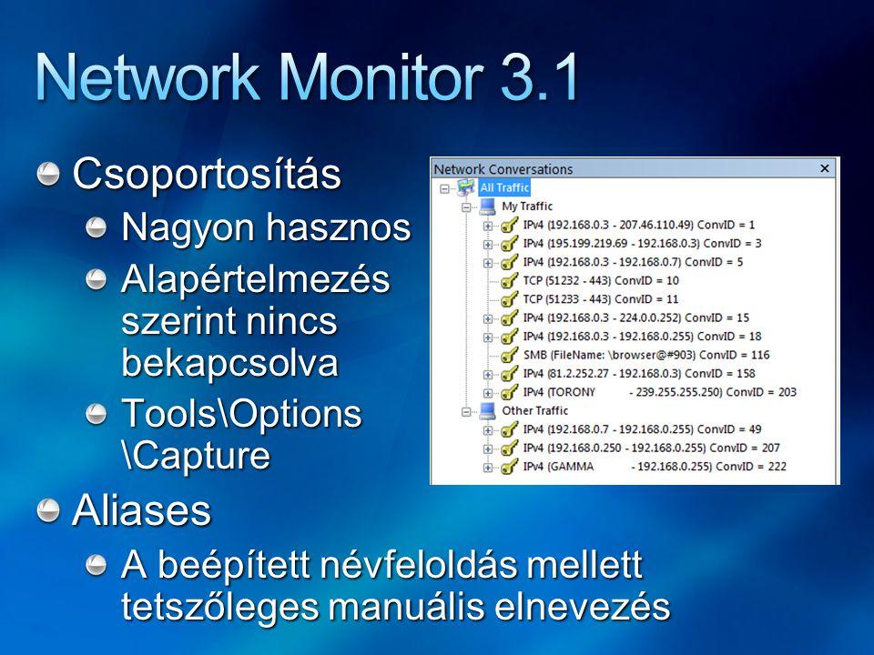 Network Monitor 3.1 Csoportosítás Aliases Nagyon hasznos