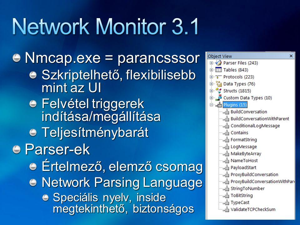 Network Monitor 3.1 Nmcap.exe = parancsssor Parser-ek