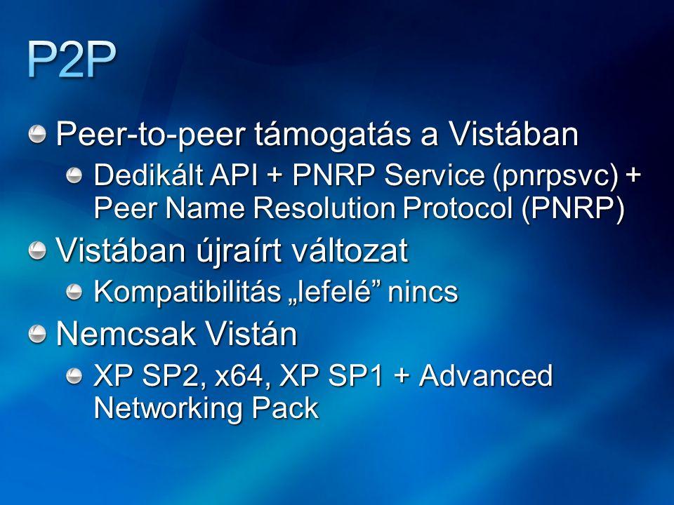 P2P Peer-to-peer támogatás a Vistában Vistában újraírt változat