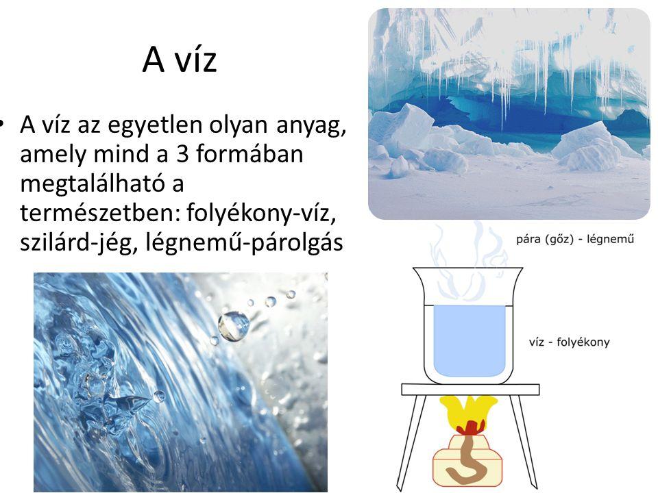 A víz A víz az egyetlen olyan anyag, amely mind a 3 formában megtalálható a természetben: folyékony-víz, szilárd-jég, légnemű-párolgás.