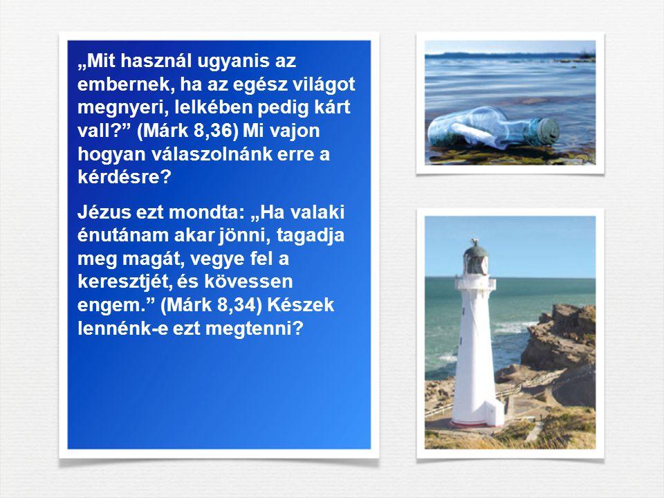 """""""Mit használ ugyanis az embernek, ha az egész világot megnyeri, lelkében pedig kárt vall (Márk 8,36) Mi vajon hogyan válaszolnánk erre a kérdésre"""