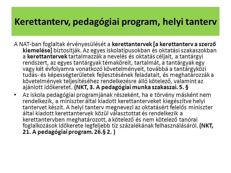 Kerettanterv, pedagógiai program, helyi tanterv