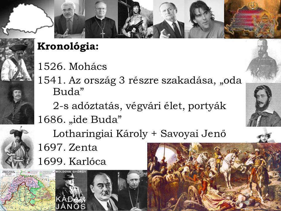 """Kronológia: 1526. Mohács. 1541. Az ország 3 részre szakadása, """"oda Buda 2-s adóztatás, végvári élet, portyák."""