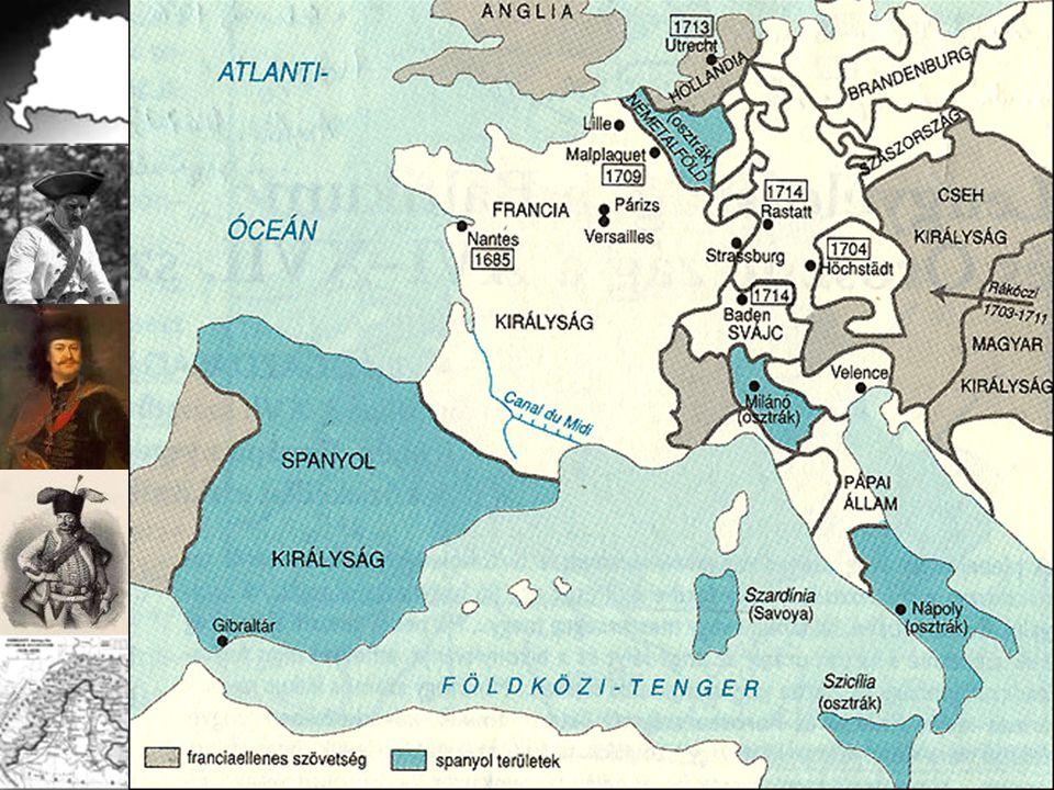 Ellenfelek: Habsburgok Bourbonok. Tét: az európai hegemónia. Francia-spanyol perszonálunió az angolok és a hollandok sem érdektelenek!