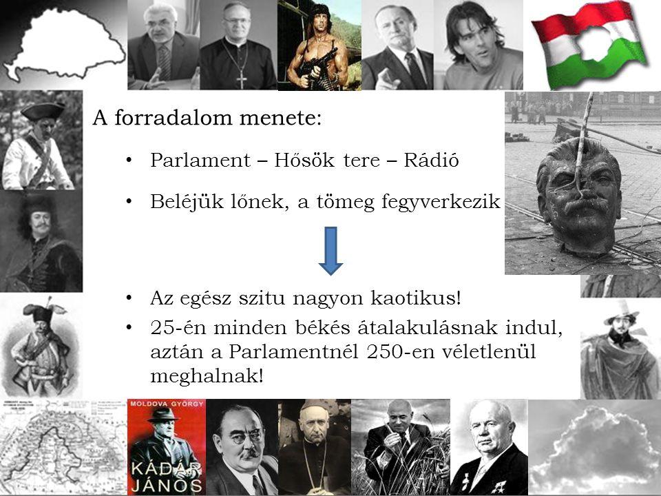 A forradalom menete: Parlament – Hősök tere – Rádió