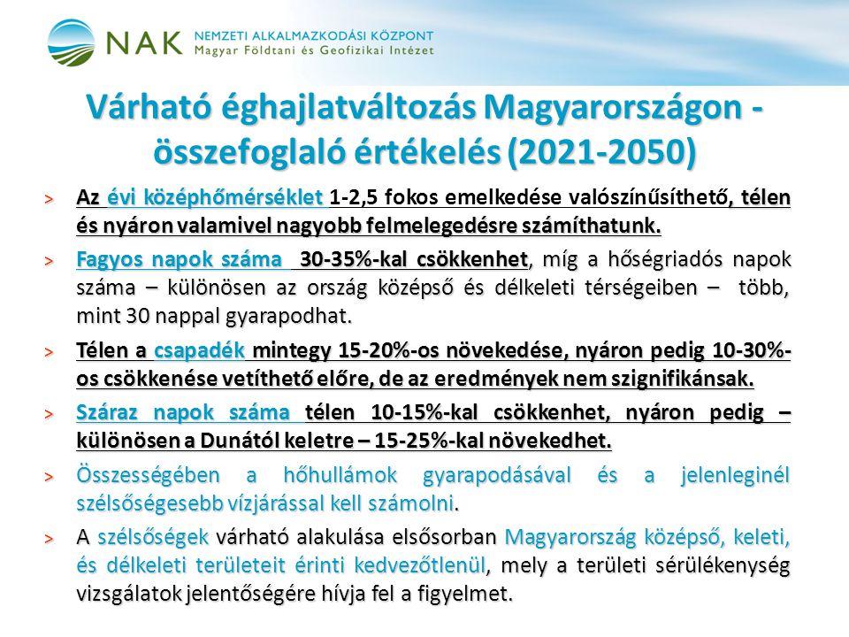 Várható éghajlatváltozás Magyarországon - összefoglaló értékelés (2021-2050)