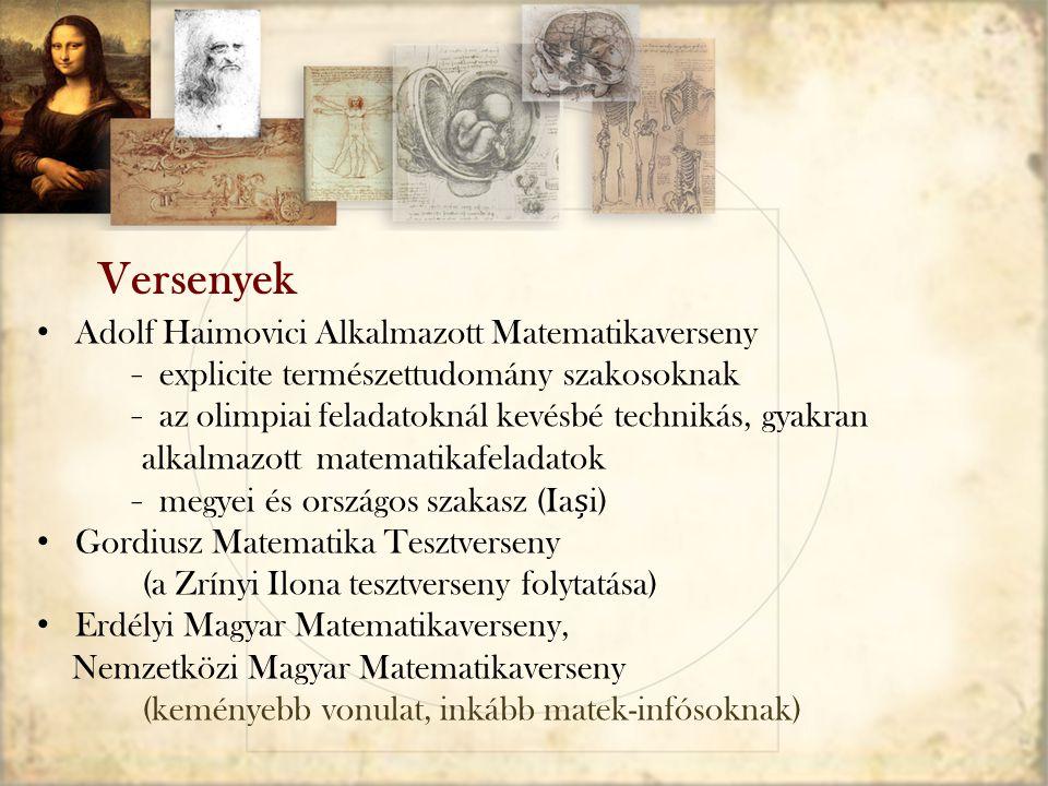 Versenyek Adolf Haimovici Alkalmazott Matematikaverseny