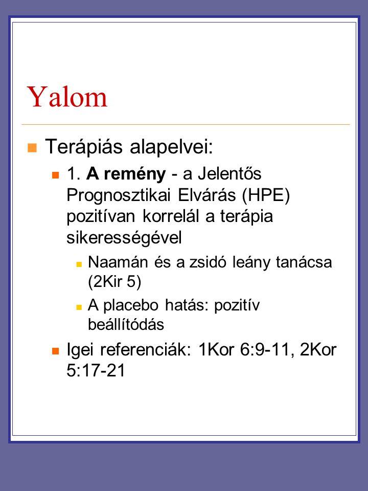 Yalom Terápiás alapelvei: