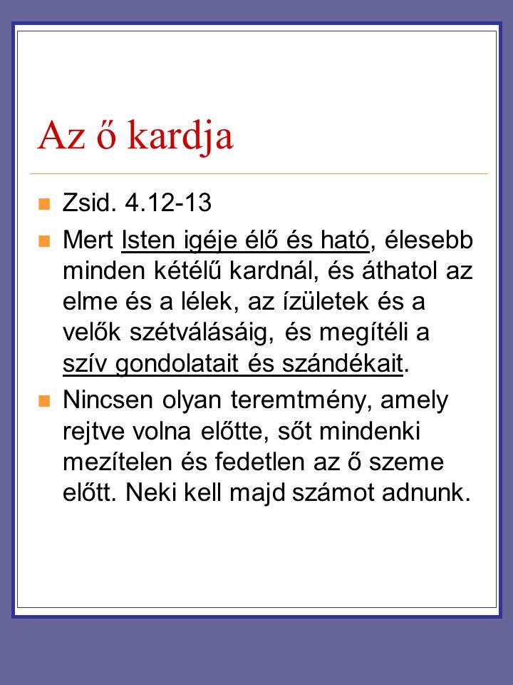 Az ő kardja Zsid. 4.12-13.