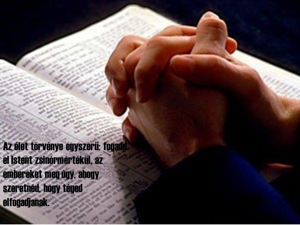 Az élet törvénye egyszerű: fogadd el Istent zsinórmértékül, az embereket meg úgy, ahogy szeretnéd, hogy téged elfogadjanak.