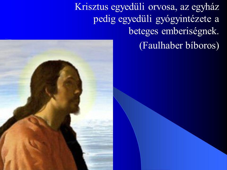 Krisztus egyedüli orvosa, az egyház pedig egyedüli gyógyintézete a beteges emberiségnek.