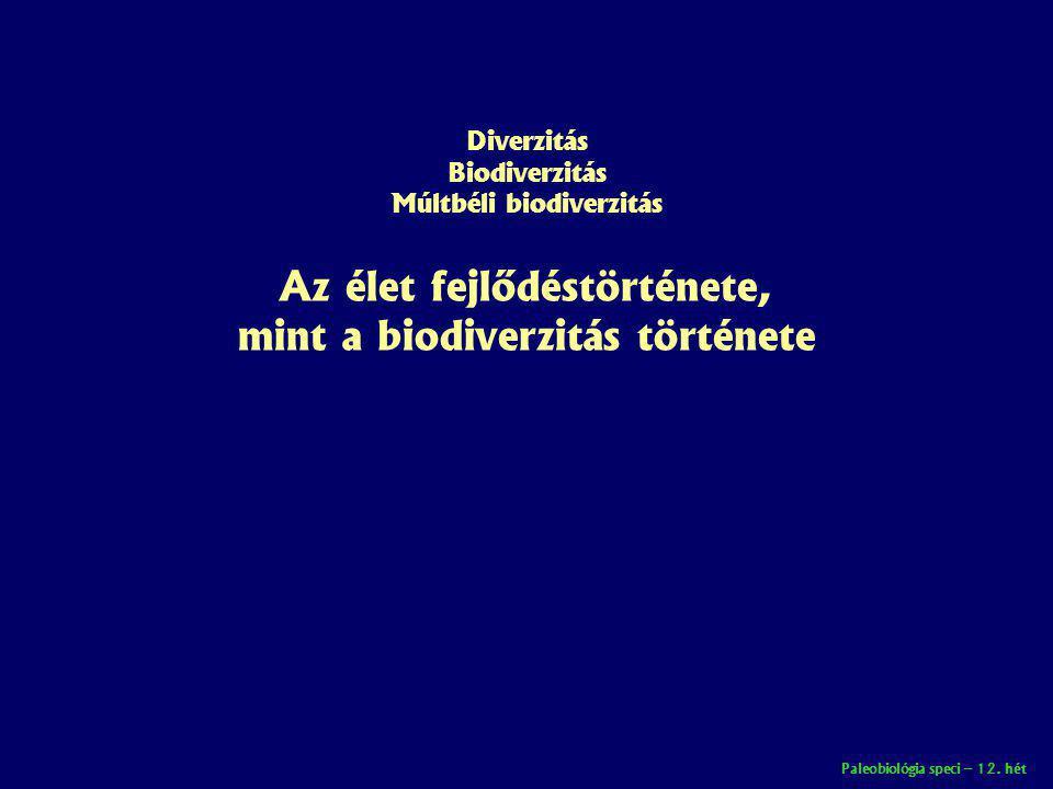 Diverzitás Biodiverzitás Múltbéli biodiverzitás Az élet fejlődéstörténete, mint a biodiverzitás története