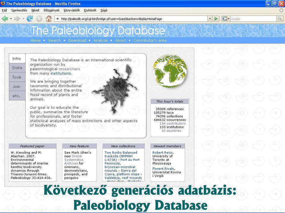 Következő generációs adatbázis: Paleobiology Database