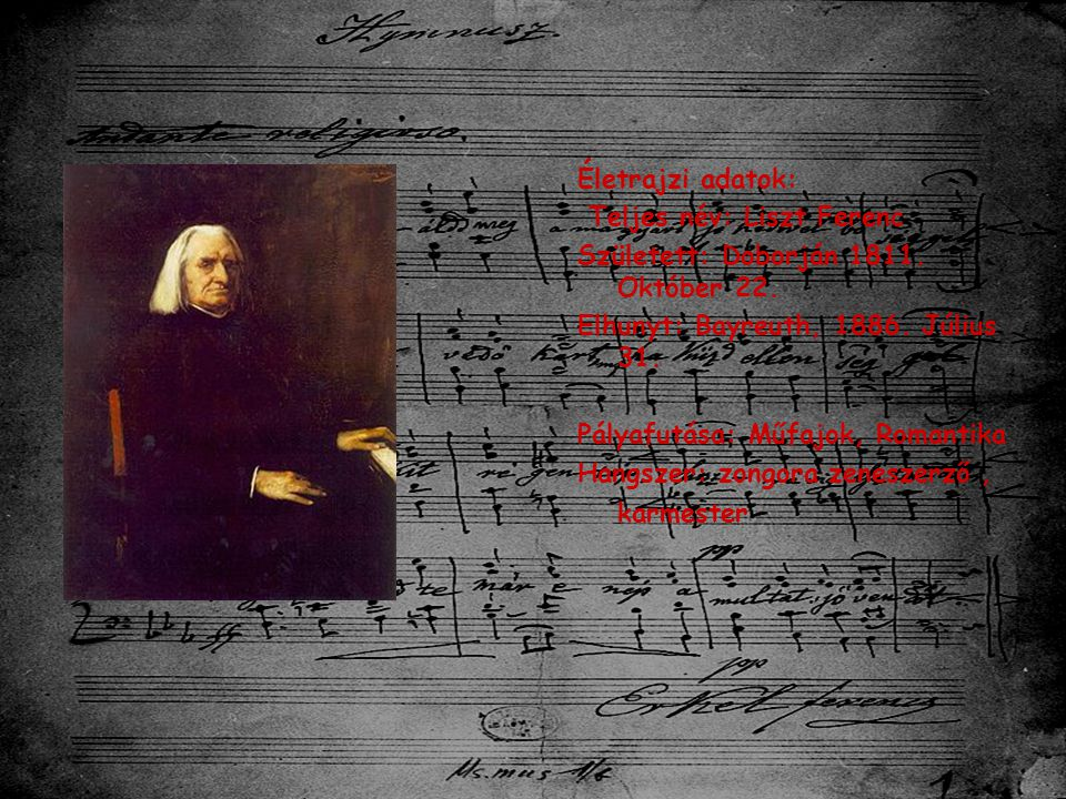 Életrajzi adatok: Teljes név: Liszt Ferenc. Született: Doborján 1811. Október 22. Elhunyt: Bayreuth, 1886. Július 31.