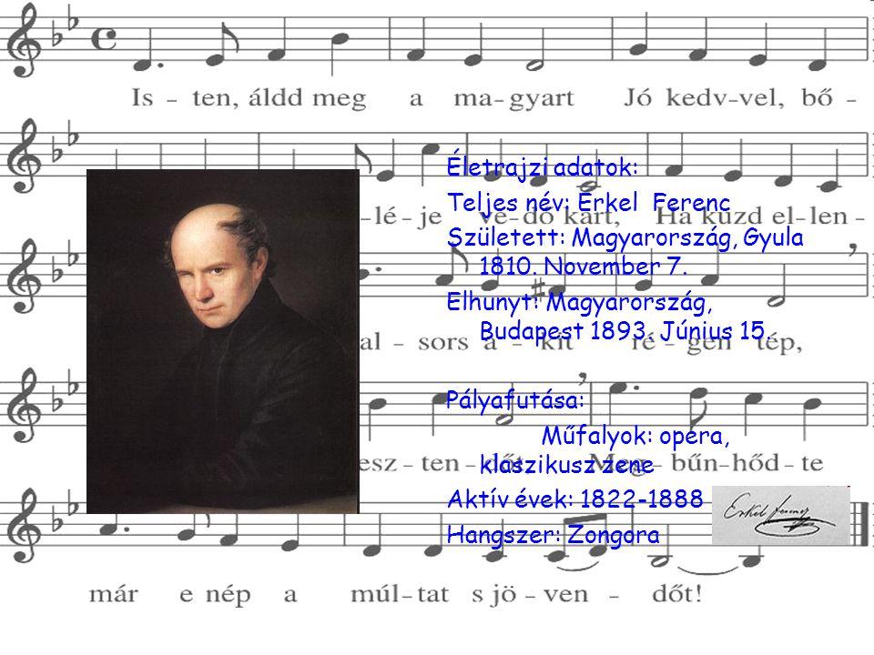 Életrajzi adatok: Teljes név: Erkel Ferenc. Született: Magyarország, Gyula 1810. November 7. Elhunyt: Magyarország, Budapest 1893. Június 15.