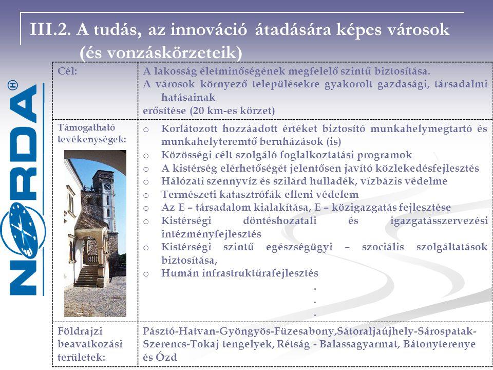 III. 2. A tudás, az innováció átadására képes városok