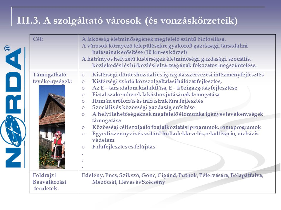III.3. A szolgáltató városok (és vonzáskörzeteik)