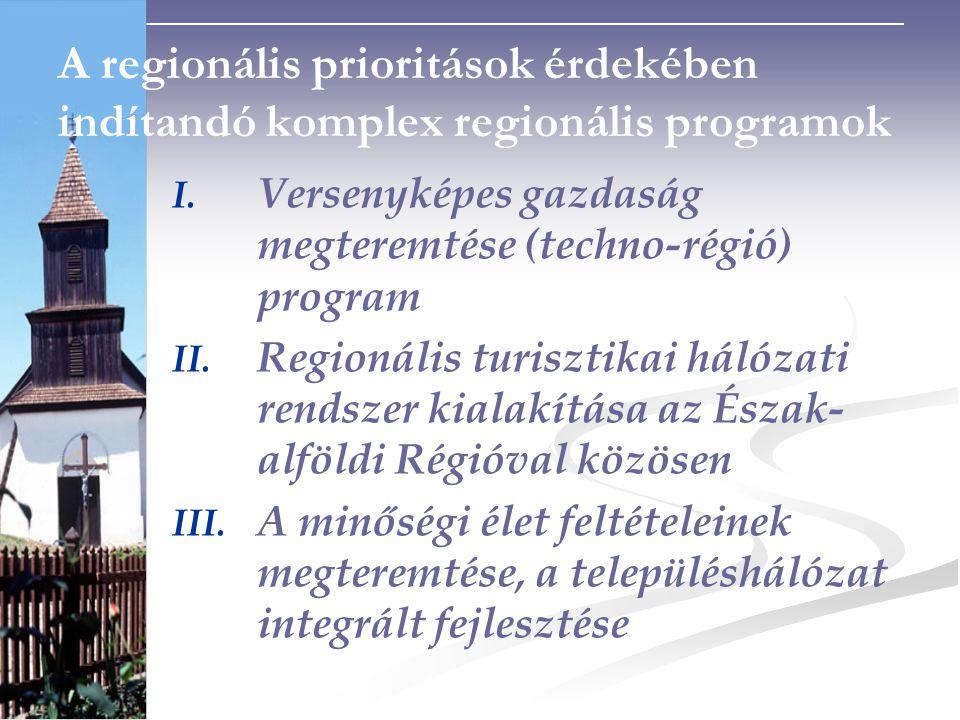 A regionális prioritások érdekében indítandó komplex regionális programok