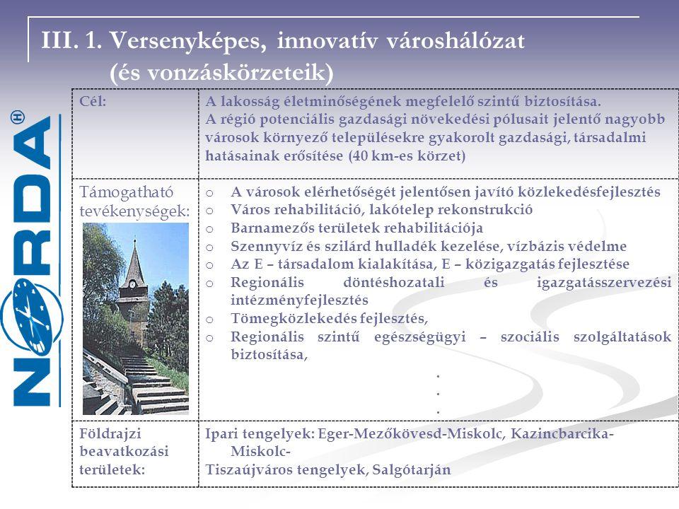 III. 1. Versenyképes, innovatív városhálózat (és vonzáskörzeteik)