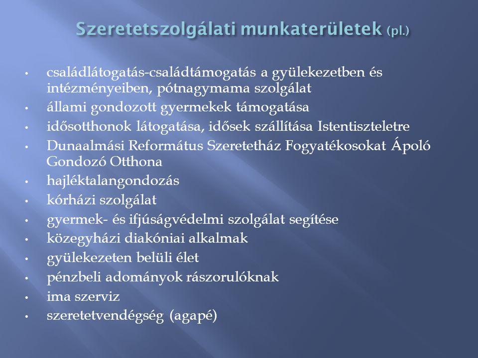 Szeretetszolgálati munkaterületek (pl.)